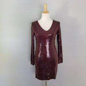 Robert Rodriguez V Neck Sequin Mini Dress Size S